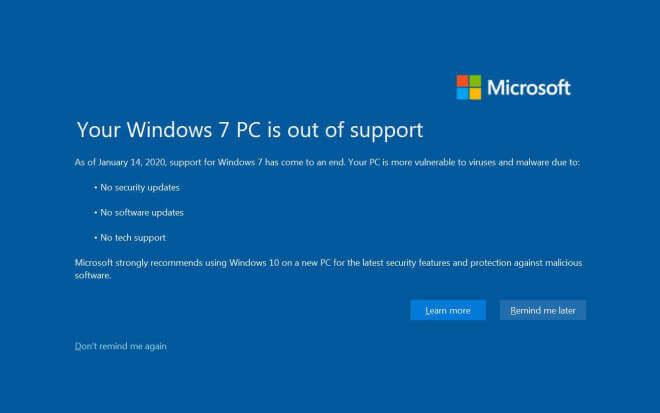 Windows 7: Warnung vor dem Support-Ende