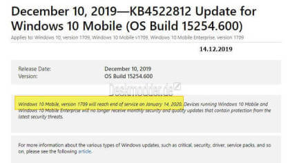 Windows 10 Mobile Build 15254.600