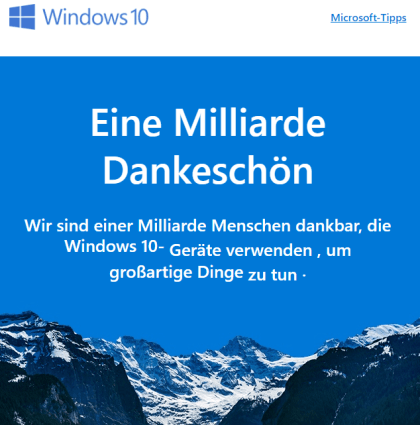 Microsoft erreicht eine Milliarde Windows 10-Installationen