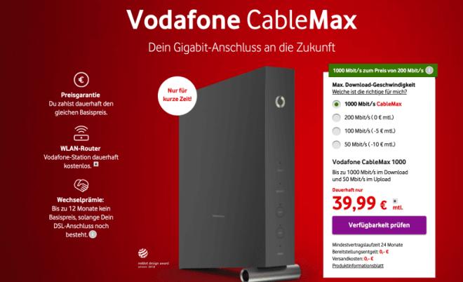Vodafone Cable Max