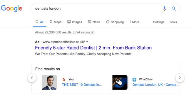 Google Ergebnisseiten mit Werbung für Konkurrenten