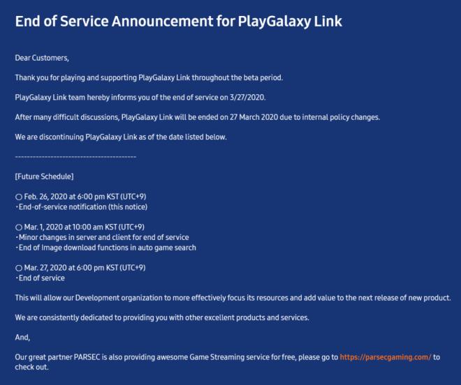PlayGalaxy Link eingestellt