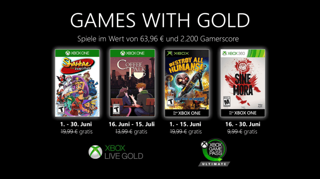 Xbox Gold Spiele Juni 2021