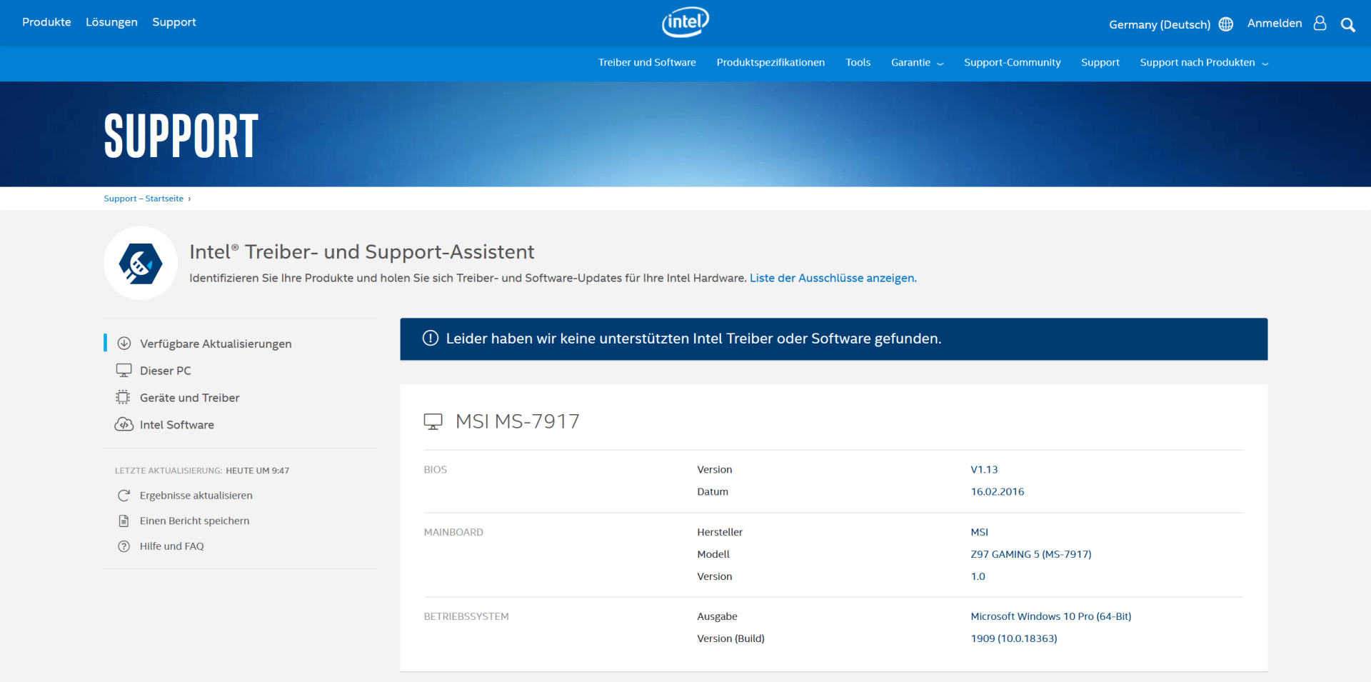 Intel Treiber- und Support-Assistent