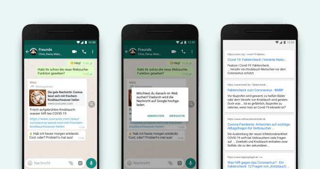 WhatsApp bekommt integrierte Google-Suche
