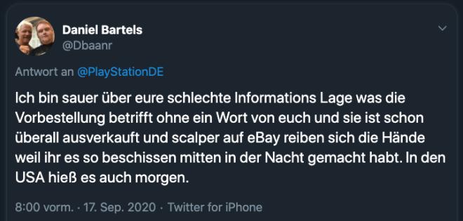 PlayStation Vorbestellung: Kommentare auf Twitter