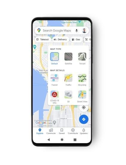 Google Maps COVID-19 Info-Ebene