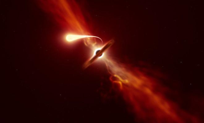 Spaghettisierung eines Sterns (ESO)