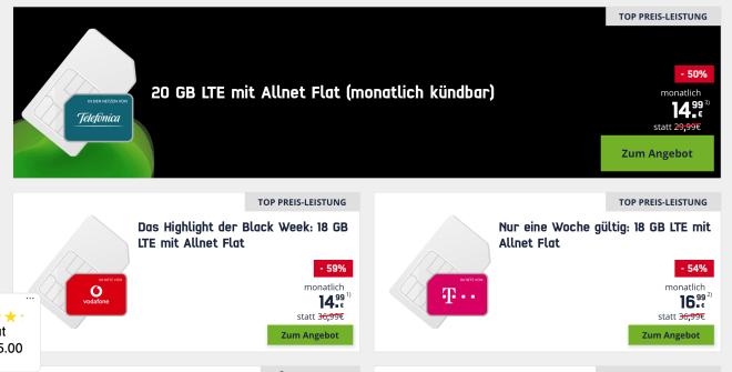 Mobilfunk-Angebote zur Black Friday Week