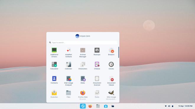 Windows 10x-Layout in Zorin OS 16