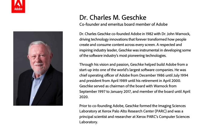 Adobe-Gründer Dr. Charles Geschke