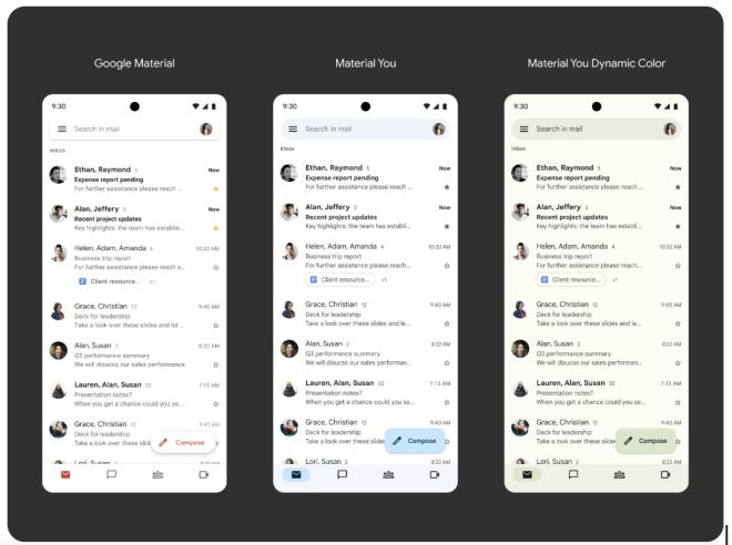 Material You-Design für Gmail, Kalender, Docs und mehr