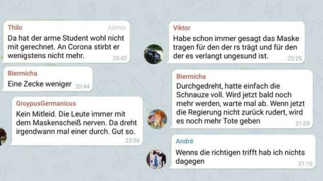 Telegram-Postings zum Querdenker-Mord