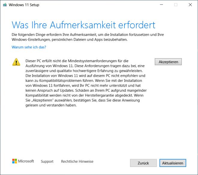 Microsoft warnt vor Windows 11-Installation ohne TPM 2.0