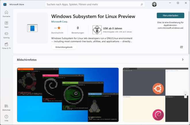 WSL im Microsoft Store