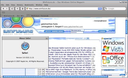 Safari 3 Beta - für Windows XP und Vista