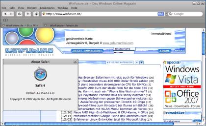 Safari 3 Beta - für Windows XP und Vista