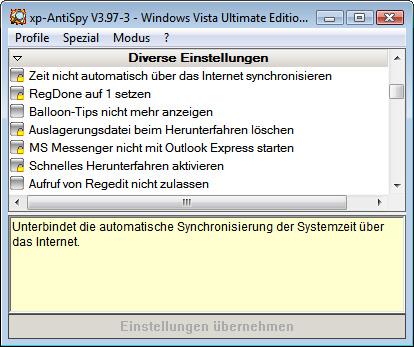 Privatsphäre-Tool xp-AntiSpy
