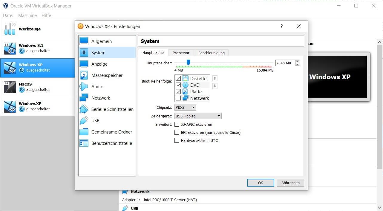 Virtualbox Daten übertragen