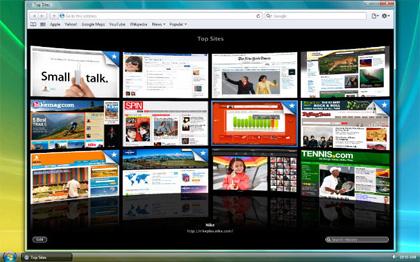 Top Sites in Apple Safari 4