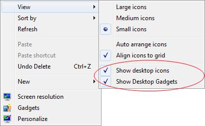 Show Desktop Icons & Show Desktop Gadgets