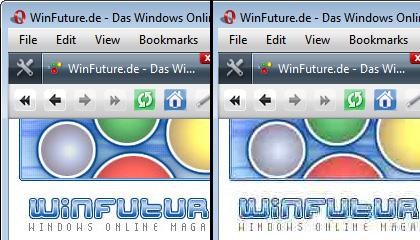 Opera Turbo: links das WinFuture-Logo ohne Komprimierung, rechts mit