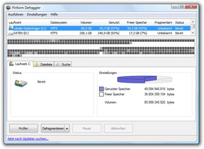 Defragmentierungs-Tool Defraggler
