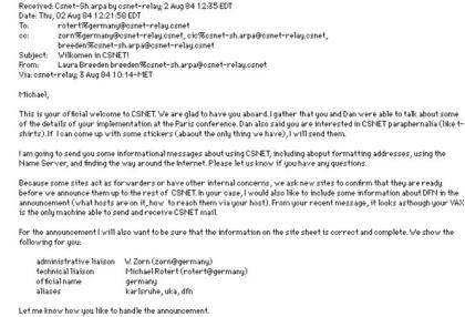 Die erste E-Mail nach Deutschland