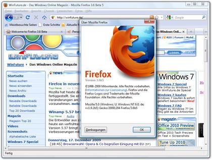 Fünfte Beta-Version von Firefox 3.6 veröffentlicht