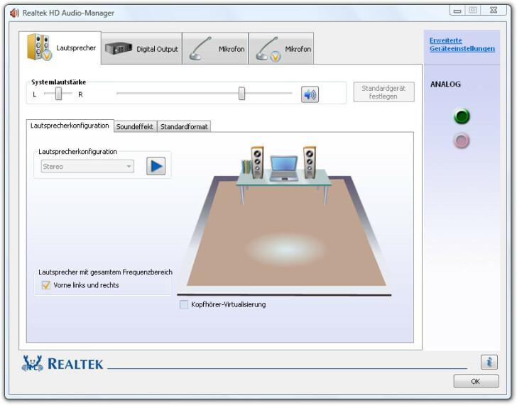Realtek HD Audio Codecs Vollbild