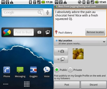 Google Buzz Android Widget