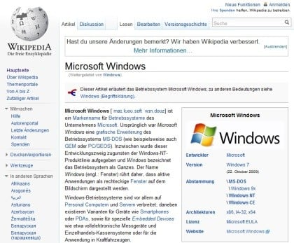 Wikipedia neues Design