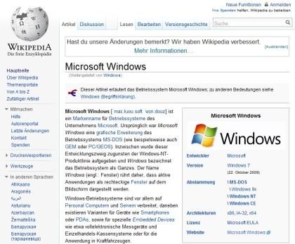 Wikipedia neues Design