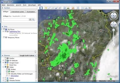 Regen und Schnee bei Google Earth