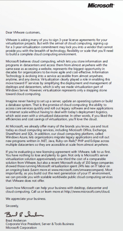 Microsofts Brief an VMware-Kunden