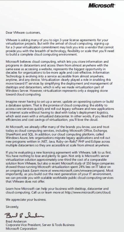 Microsofts Brief an VMware-Kunden