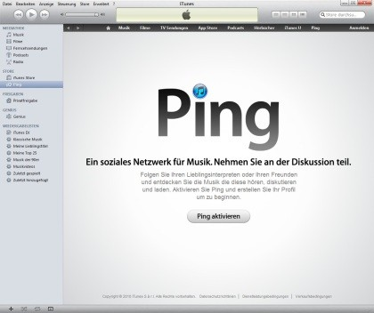 iTunes 10 mit Ping