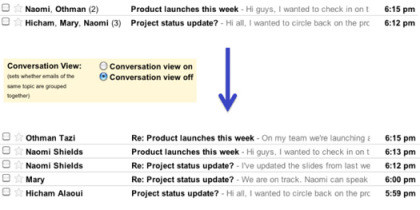 Google Mail Konversationsansicht