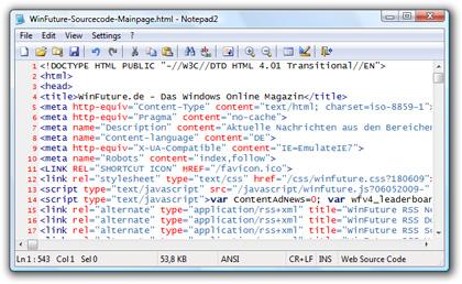 Kostenloser Editor Notepad2