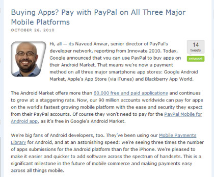 PayPal Blog-Beitrag über den Android Market