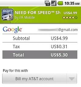 Zahlen via Mobilfunkrechnung im Android Market
