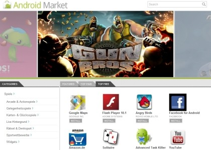 Web-Version des Android Market