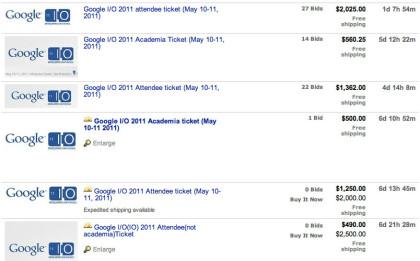 Google I/O-Tickets auf eBay