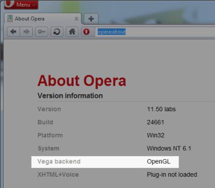 Opera 11 mit WebGL