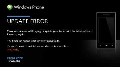 Windows Phone 7 Update-Fehler