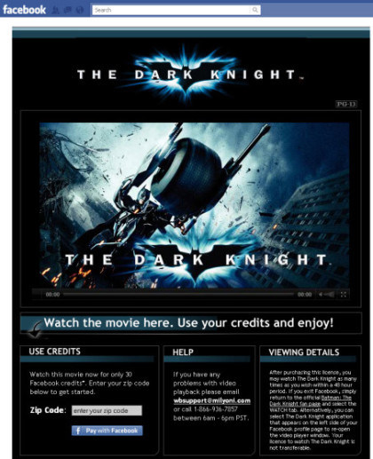The Dark Knight bei Facebook