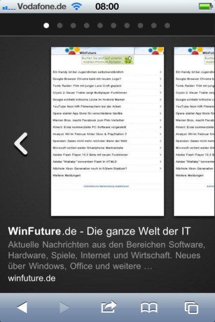 Google Instant Previews auf dem iPhone