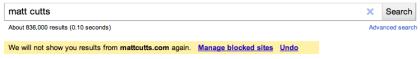 Google persönliche Blockliste