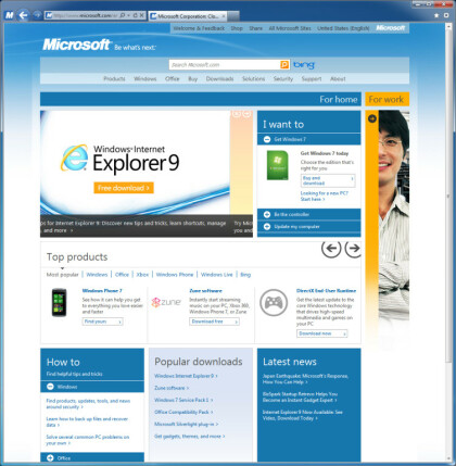 Microsoft.com mit Metro UI