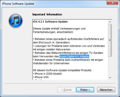 Apple iOS 4.3.1